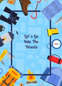 Marco de elementos de camping de estilo plano con vuelo a su alrededor con lugar para el texto en la ilustración central