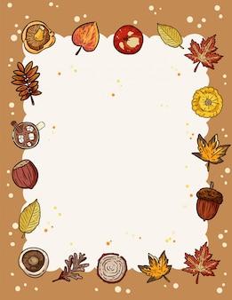 Marco de elementos de otoño con espacio de copia