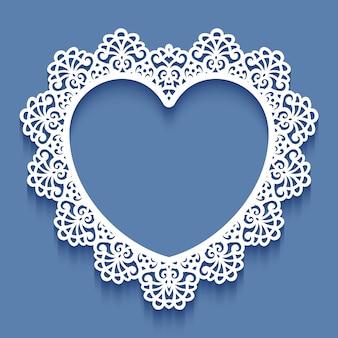 Marco de encaje de papel cortado con láser en forma de corazón, ilustración. marco de fotos recorte ornamental