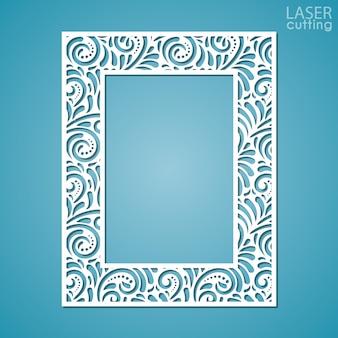 Marco de encaje de papel cortado con láser, ilustración. marco de fotos recorte ornamental con patrón.