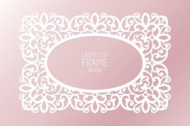 Marco de encaje de papel cortado con láser, ilustración. marco de fotos de recorte ornamental, plantilla para cortar. elemento para invitación de boda y tarjeta de felicitación.