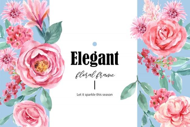 Marco encantador floral de estilo retro con ilustración acuarela floral vintage.