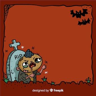 Marco espeluznante de halloween dibujado a mano