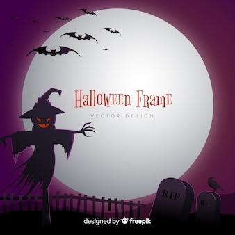 Marco espeluznante de halloween con diseño plano