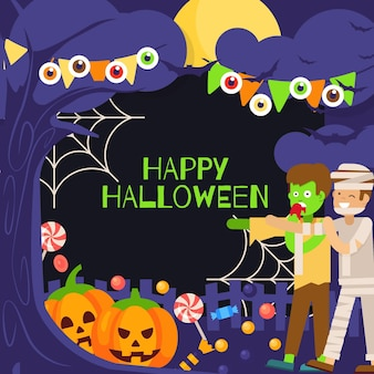 Marco espeluznante de halloween de diseño plano