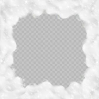 Marco de espuma de baño aislado en transparente