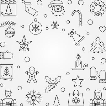 Marco de esquema de navidad y año nuevo