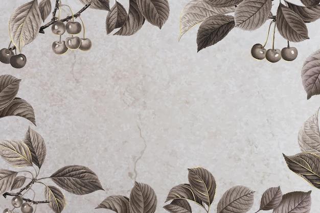 Marco estampado cereza dibujado a mano