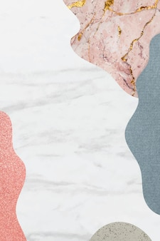 Marco estampado collage sobre fondo de mármol blanco