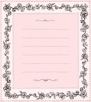 Marco de estilo doodle handdrawn con rosas, plantilla de vector