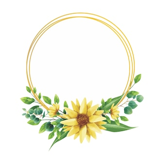 Marco de estilo de flor de acuarela