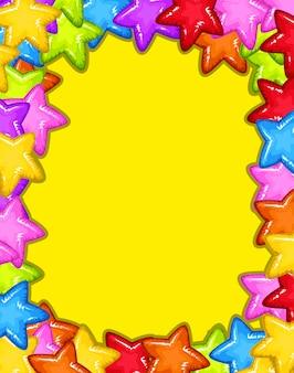 Un marco de estrellas de colores.