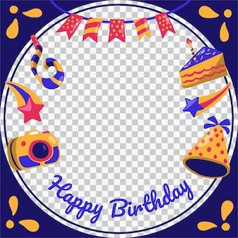 Marco de facebook de cumpleaños de dibujos animados