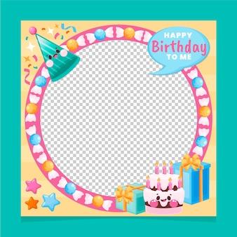Marco de facebook de cumpleaños plano orgánico