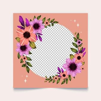 Marco de facebook floral dibujado a mano
