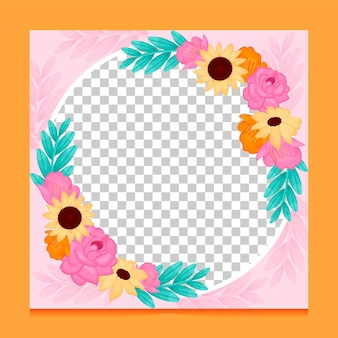 Marco de facebook floral plano orgánico