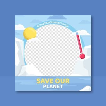 Marco de facebook plano sobre cambio climático para foto de perfil