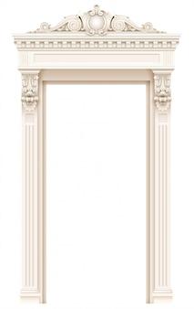Marco de fachada de puerta arquitectónica blanca clásica