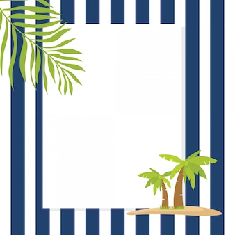 Marco de felicitación de vacaciones de verano de tema marino