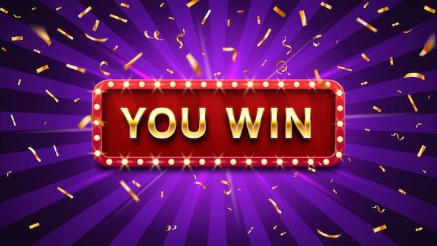 Marco de felicitaciones de ganador, signo de felicitación de oro victoria felicitando y ilustración de vector de confeti de oro ganador