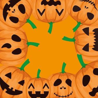 Marco feliz halloween con patrón de calabazas