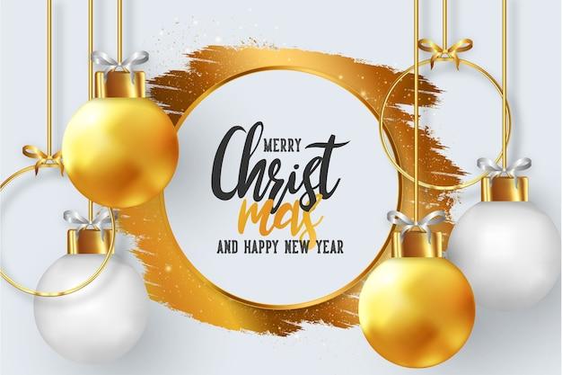 Marco de feliz navidad con bolas de navidad realistas