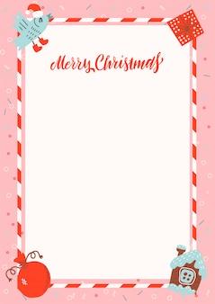 Marco de feliz navidad tamaño a4 con casa de pan de jengibre y regalos de navidad sobre fondo rosa con espacio libre para texto