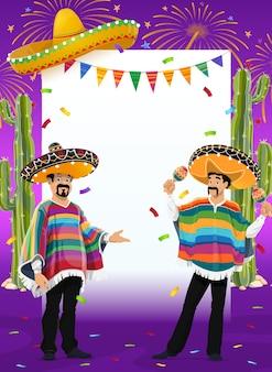 Marco de fiesta mexicana con músicos de mariachis en el festival del cinco de mayo