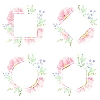 Marco de flor de acuarela de peonía rosa