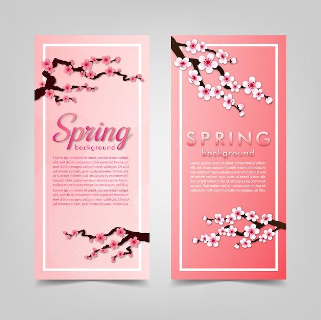 Marco de flor de cerezo. banner de fondo rosa sakura.