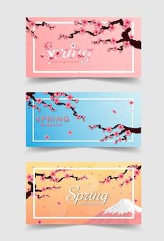 Marco de flor de cerezo. conjunto de banner rosa sakura y puesta de sol