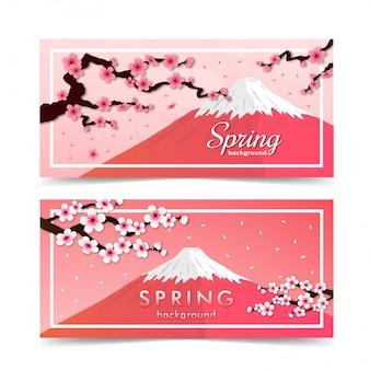 Marco de flor de cerezo. fondo de banner de primavera rosa sakura