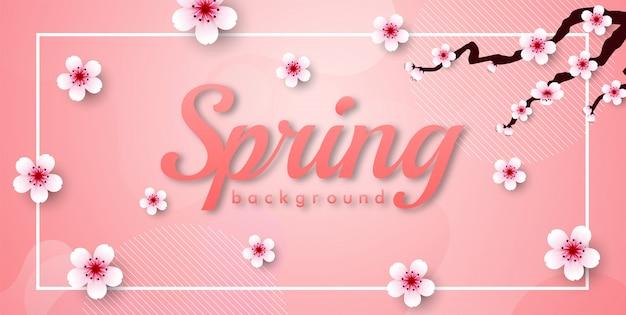 Marco de flor de cerezo. pancarta rosa sakura