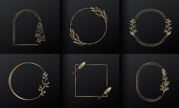 Marco de flor de círculo dorado