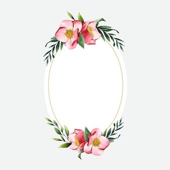 Marco de flor de hellebore pintado por vector de acuarela