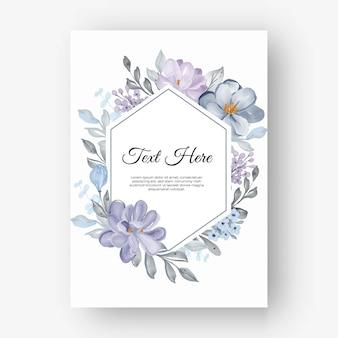 Marco de flor hexagonal con flores lilas