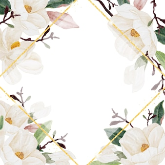 Marco de flor de magnolia acuarela