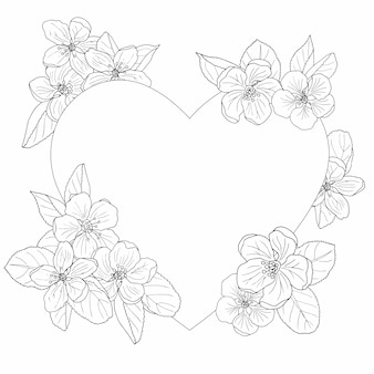 Marco de flor de manzana, página para colorear