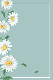 Marco de flor de margarita sobre fondo verde claro