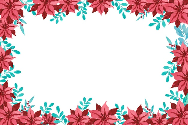 Marco de flor de nochebuena acuarela