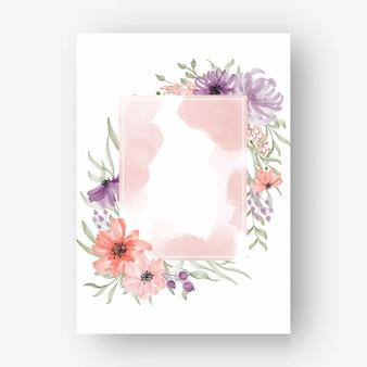 Marco de flor rectangular con flores de acuarela