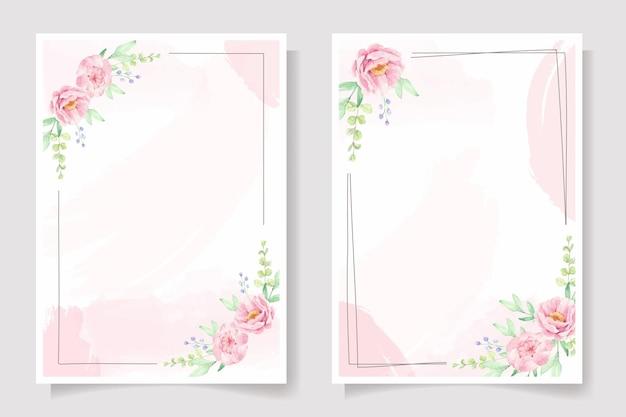 Marco de flor rosa rosa y peonía en salpicaduras de acuarela rosa