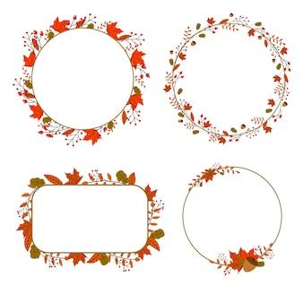 Marco floral abstracto de otoño