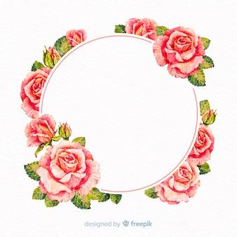 Marco floral de acuarela con banner en blanco