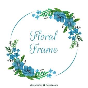 Marco floral en acuarela con diseño adorable