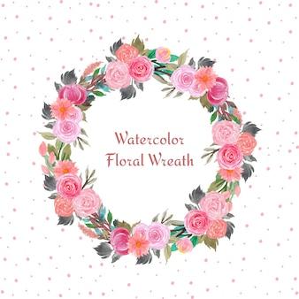 Marco floral acuarela con flores de colores