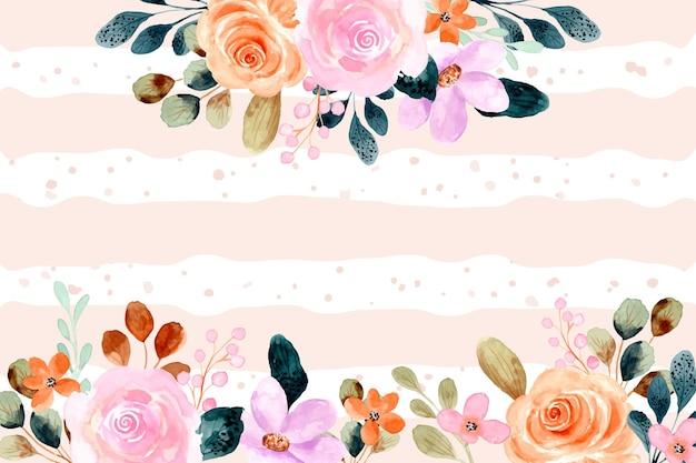 Marco floral acuarela con fondo de líneas y puntos