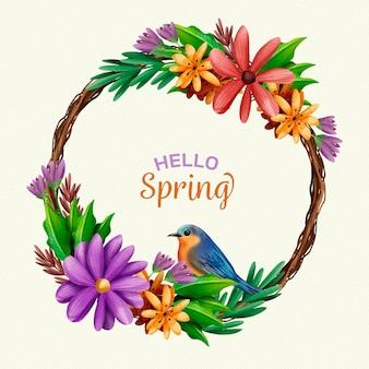 Marco floral acuarela hermosa primavera