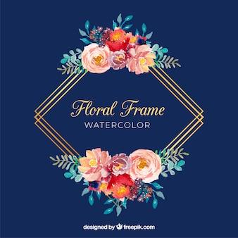 Marco floral acuarela con líneas poligonales doradas