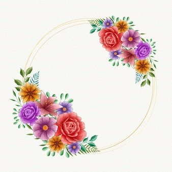 Marco floral acuarela primavera con espacio vacío